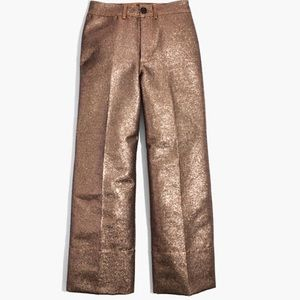 NWT Madewell Emmett Wide-Leg Crop Pants Metallic